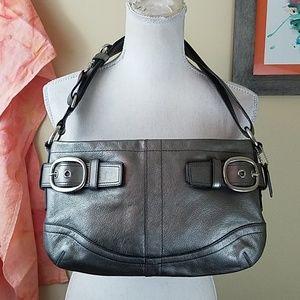 Coach Silver Leather Buckle Shoulder Bag Purse